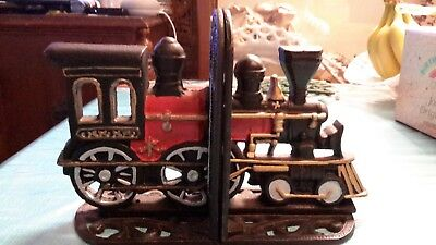 Cast Iron Locomotion- Locomotive Train  Book Ends