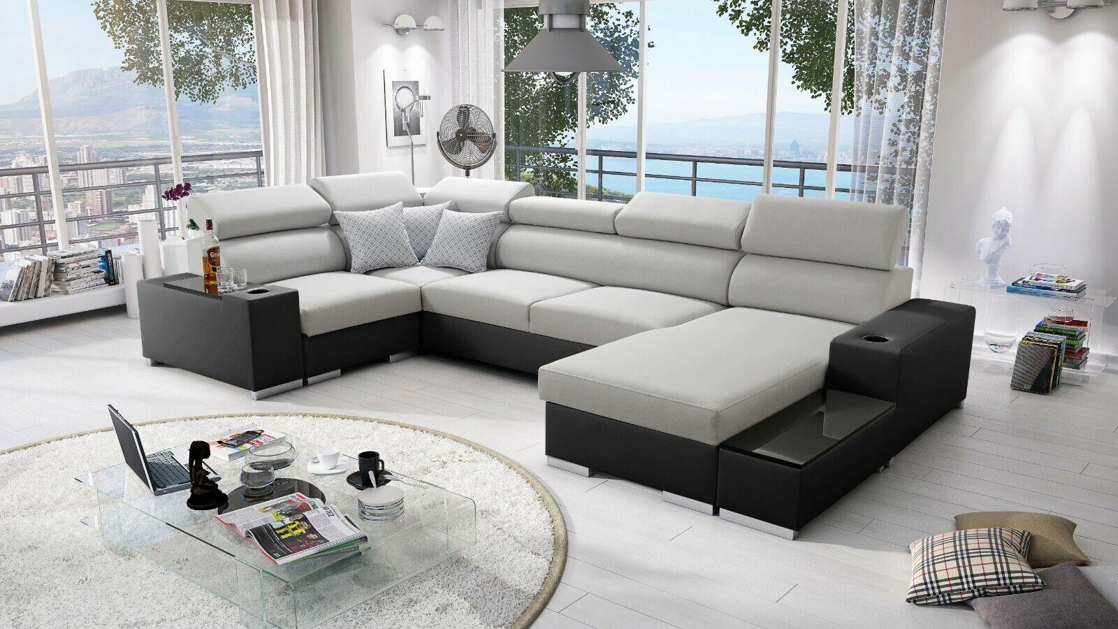 Ecksofa Porte mit Schlaffunktion Bettkasten Wohnlandschaft Gewebe Big Sofa XL 26