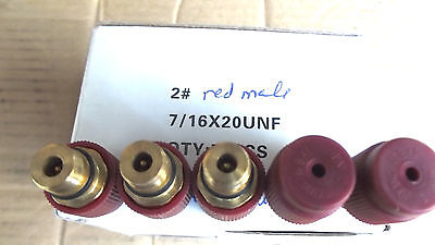 """5 RED,7/16""""-20 MALE RETROFIT FITTINGS FOR A/C RETROFIT TO 134A AS SEEN IN PHOTO"""