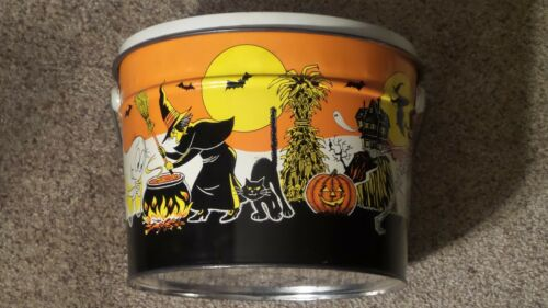 Original Vintage Tin Litho Halloween Graphics Bucket with Handle ~AWESOME PIECE~