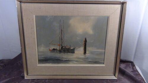 """Pobert Mcvittie(1935-2002,canada)oil On Board """"fishboat On Fraiser River"""",signed"""