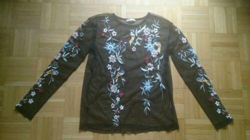 Zara Bluse, Hemd, shirt, Transparent, Tüll, spitze, bestickt, Blumen, Stickerei
