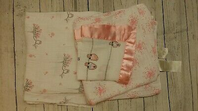 Aden & Anais Honest Co Cotton Muslin Blanket Girl Birds In Tree Pink Burp Cloth