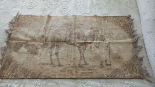 """Antique Velvet Fringed Runner CAMEL, Desert Scene, Belgium, 44""""x24"""", Brown"""
