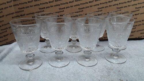 8 DUNCAN & MILLER SANDWICH GLASS  WINE GOBLETS