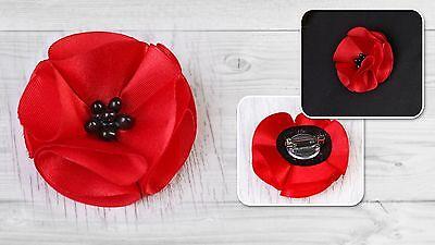 Metal Pin Badge Brooch Silk Flower Red Poppy Memorial Remembrance Veteran's Day