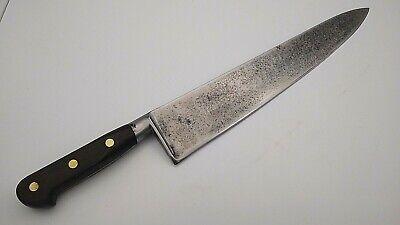 "Sabatier 14"" HUGE Carbon Steel wood handle French Chef knife RAZOR SHARP vintage for sale  Hampton"