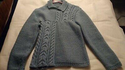 Women's Heavy Coat Sweater Small Blue Homemade CROCHET