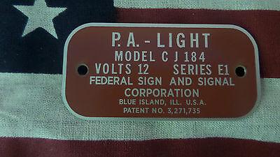 Federal Signal Model Cj184 Series E1 P.a. Light Replacement Badge