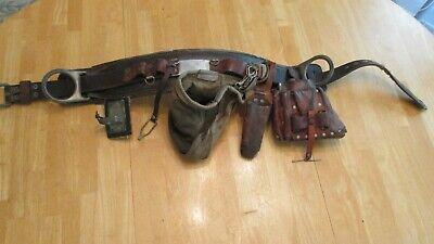 Buckingham Lineman Tool Belt 24 Back Saver Leather Tool Knife Pouch Vintage 1987