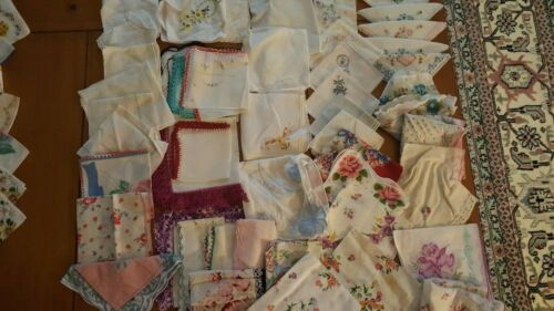 50+ Ladies HANKIES Embroidery Floral Lace Crochet Handkerchief large Lot Vintage