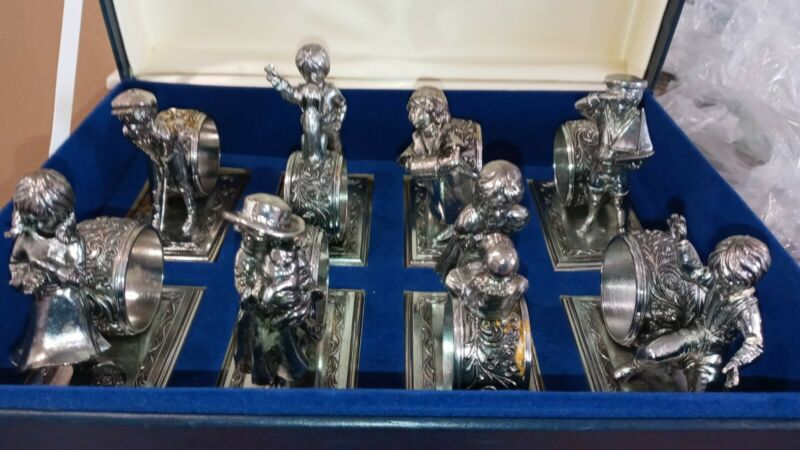 """LANCE 1979 """"Children at Play"""" antique silver plate limited edition napkin rings"""