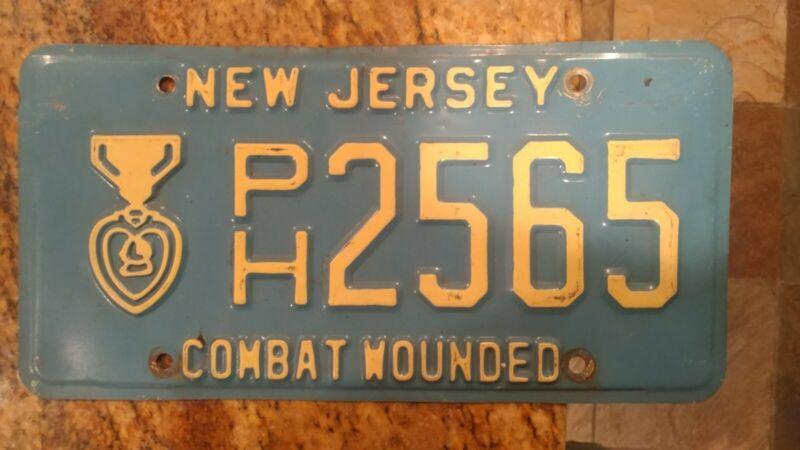 New Jersey License Plate Purple Heart # PH 2565