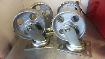Albion 62ca06201s Heavy Duty Swivel Caster 6x2 Cast Iron Wheel-set Of 4