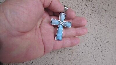 Unique Turquoise Pendant Christian Cross for Rosary or Necklace Sterling Silver ()
