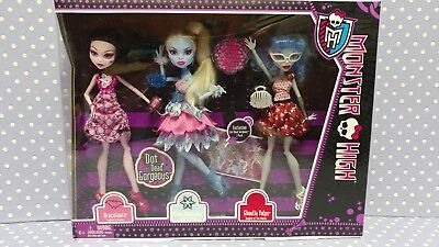 WALMART EXCLUSIVE 2012 NRFB Monster High Dot Dead Gorgeous 3 Doll Pack - Monster High Walmart