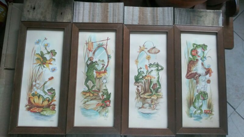 Lot of 4 Vintage COBY Bathing Frog Art Bathroom Wall Decor Plaques - Wood Frame