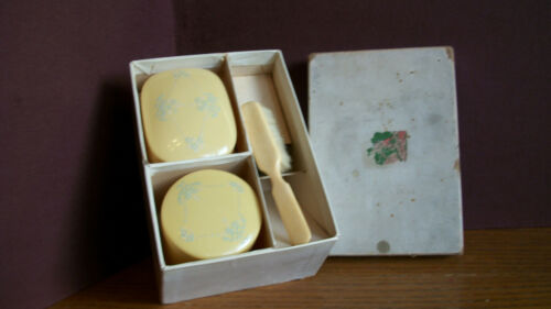 CELLULOID BABY BRUSH AND ACCESS. IN ORIGINAL BOX