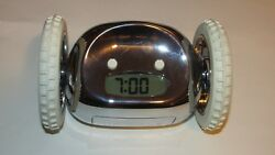 Clocky Alarm Clock, Digital, Run Away, Silver & White, Good Condition,