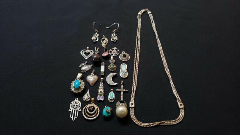 Lot of sterling silver 12k pendants charms earrings necklace gemstone diamond