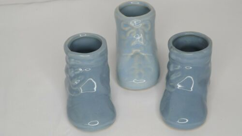 Vintage Antique Baby Booties Ceramic Pottery Blue