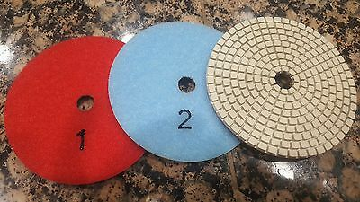 3 Step Diamond Polishing Pads Wetdry 4 Set Kit Granite Marble Quartz Concrete