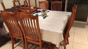 8 Seater Square Shaped Dining Table with chairs. Elderslie Camden Area Preview