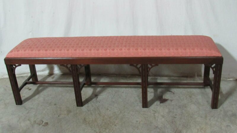 "Chippendale Bench Mahogany Rare Palace Size 69"" Long"