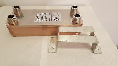 """NEW! 30 Plate Water to Water Brazed Plate Heat Exchanger 1"""" MPT Ports W/Brackets"""