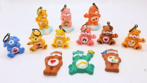 Vintage Care Bears 12 loose figure Keychain Attachables & Magnets lot 1984-85