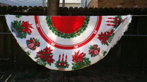 """VINTAGE PRINT HOLLY POINSETTIA CHRISTMAS ROUND 54""""  TABLECLOTH FREE SHIPPING"""