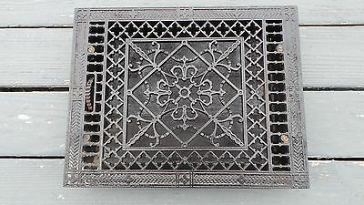 Vintage VICTORIAN Cast Iron Floor Grille 18x14 Heat Grate Register with Louvers
