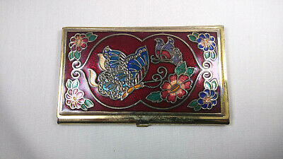 Vintage Multicolor Butterfly Floral Brass Business Card Holder 3.75 X 2.25