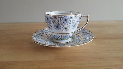 Vintage ROSINA BONE CHINA TEA CUP & SAUCER SET Blue & White Flowers