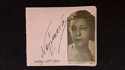 Alla Nazimova Autograph & News Photo Broadway & Silent Film Actress, May 28,1932
