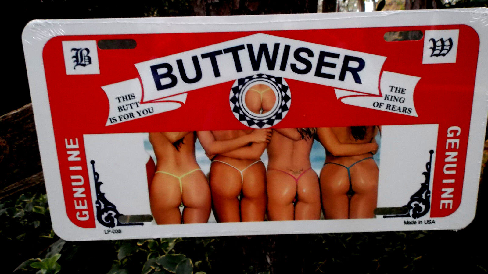 Budweiser Beer Buttwiser Tag Novelty Advertising License Plates Collectible Tags