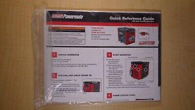 Coleman Powermate 1800 Watt Portable Generator Quick Reference Guide 6c B5
