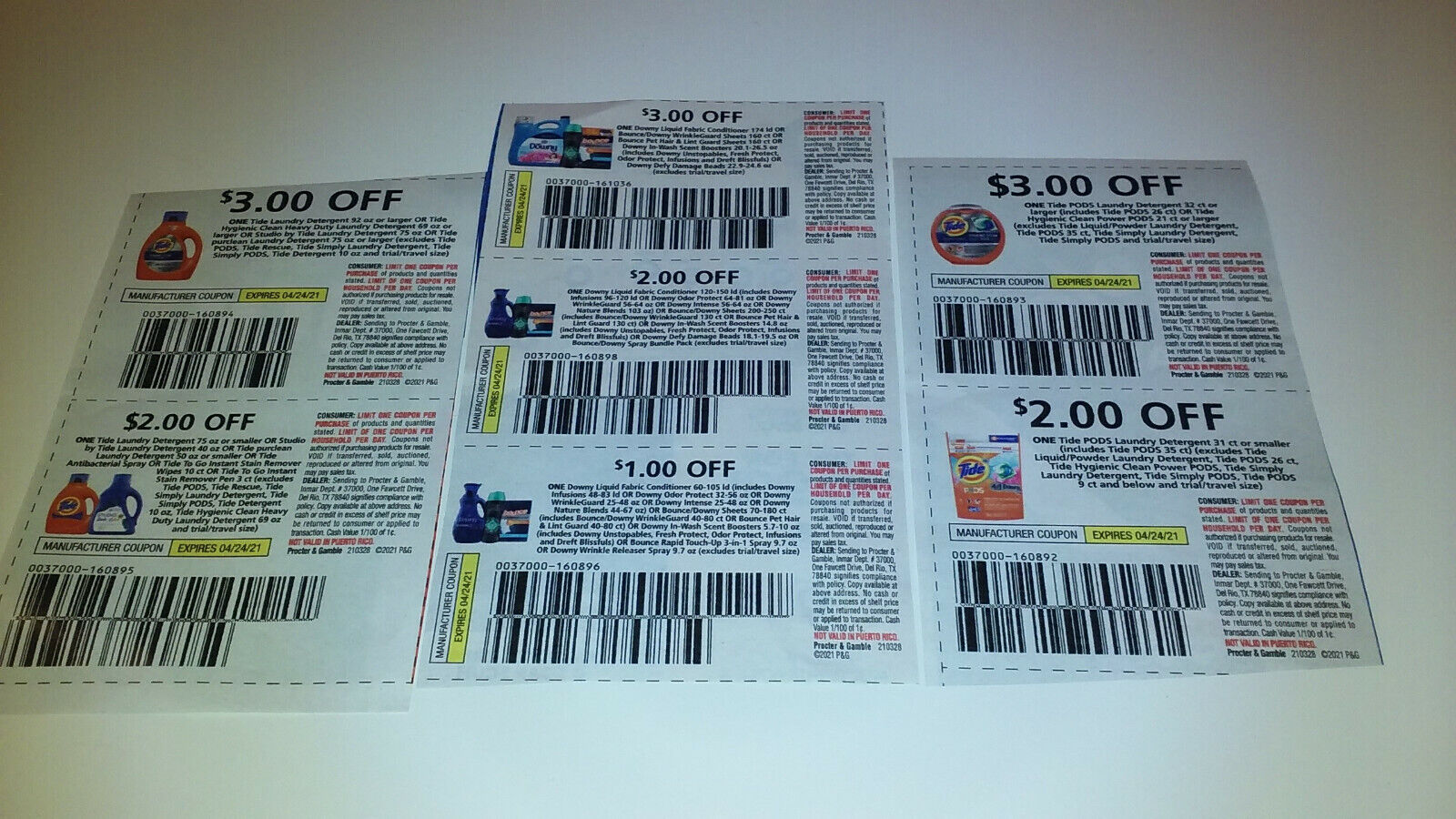 TIDE LAUNDRY DETERGENT, TIDE PODS, DOWNY, BOUNCE COUPONS - EXPIRATION 4/24/21 - $1.75