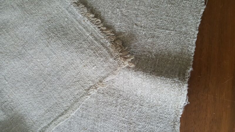 Vintage Nubby Textured Hemp Linen Heavy Weight Material - Appx 47X40