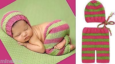 ★★★NEU Baby Fotoshooting Kostüm 2Tlg. himbeer apfelgrün 0-6 Monate ★★★AD