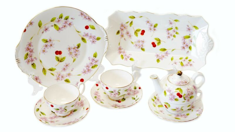 Aynsley Fine Bone China, Cherry Blossom Tea Service for 2, New Condition