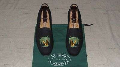 """NEW! Women's $450 Stubbs and Wootton Linen """"PALM TREES"""" Slippers Loafers Shoes for sale  Shipping to Canada"""