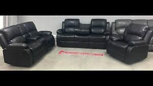 3Pce Black reclining console love seat, drop table sofa,recliner