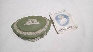 Vintage Jasperware Wedgwood Trinket Box, Sage Green and White. Norwood Norwood Area Preview