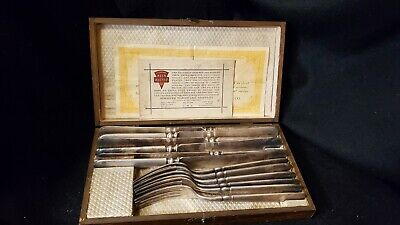 Vintage Keen Kutter 6 Setting Knife and Fork Set Plated Silver With Box - Nice!
