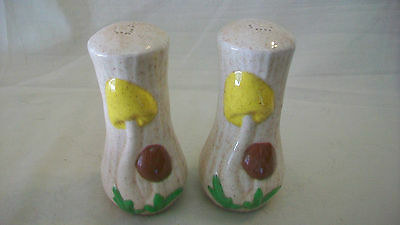 CERAMIC MUSHROOMS SALT & PEPPER SHAKERS, MULTICOLORED, HAND MADE