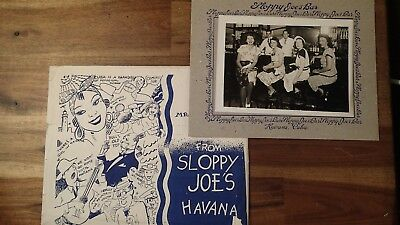 Vintage 1945 Photograph Souvenir Sloppy Joe's Bar Havana Cuba With Envelope