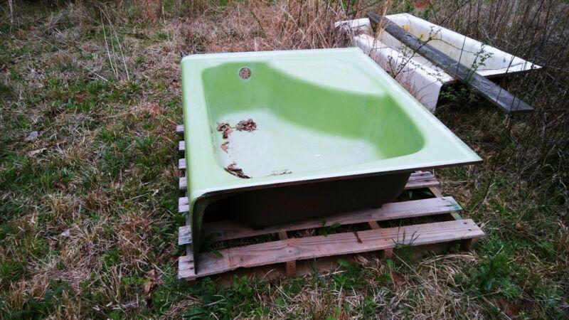 salvage 1970s green tub