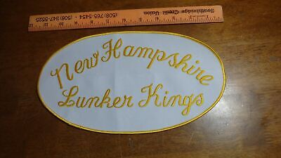VINTAGE FISHING LURES NEW HAMPSHIRE LUNKER KINGS BACK PATCH BX 115