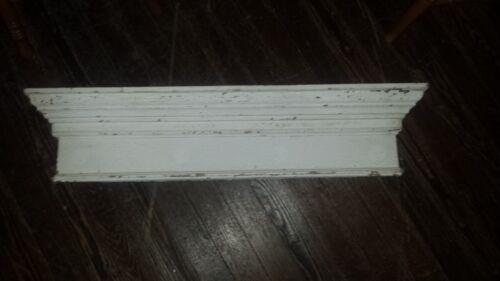 "Window HEADER Pediment Lintel WHITE Chippy Paint 43"" SHELF FARM FRESH Victorian"